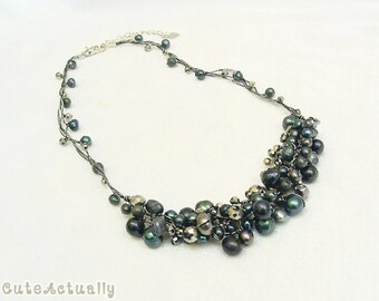 Black freshwater pearl necklace with crystal on silk thread, black chunky necklace, short necklace