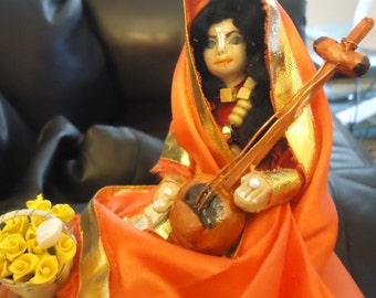 OOAK, cute and colorful keepsake or jewelry box with a decorative art doll on top.