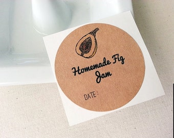 Fig Jam Jar Labels Stickers. Canning Labels. Mason Jar Labels. Fig Labels. Canning Supplies. Kraft Brown Stickers. Once Upon Supplies