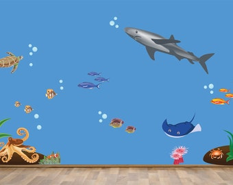REUSABLE Shark Fish Under the Sea Wall Decal - Childrens Wall Decal - Extra Large