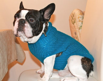Knitting Patterns For Bulldog Sweaters : French Bulldog Knit Handmade Ruffled Dress-Sweater for Dogs
