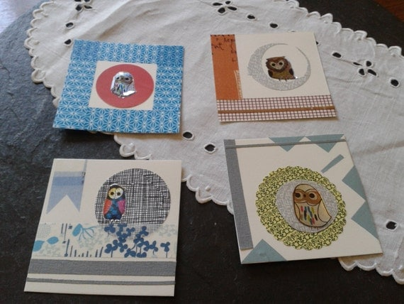 Baby Gift Thank You Card Packs : Items similar to washi tape mixed media art collage card