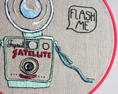 Vintage Camera Embroidery // Flash Me // Funny Embroidered Hoop Art // Original Wall Art // Large Quirky Embroidery