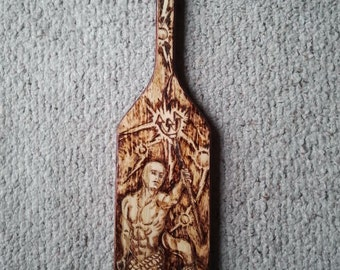 Greek paddle wood burning of young prince neptune home for Greek paddle template