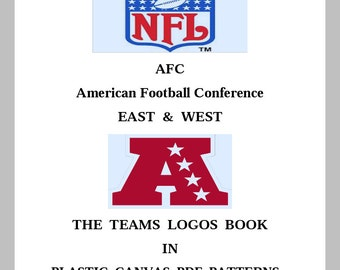 NFL -  Book -  AFC East and West Team Logos - Tissue Box Covers -  Plastic Canvas - Digital PDF Format - Pattern Only