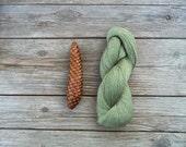 Linen Yarn skein in natural Green color - woodland