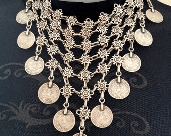 Traditional Turkish V Shape Coins Statement Necklace