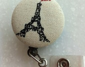 Retractable ID Badge Holder (XL) Size - Eiffel Tower