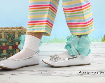 Easter Socks, Aqua Bow Socks, Robins Blue Green Socks, Frilly Baby Ruffle Socks, Turquoise Flower Girl Bow Sock, Dressy Toddler Pageant Sock