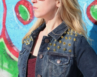 Spiked Studded Denim Cropped Jean Jacket Womens Small