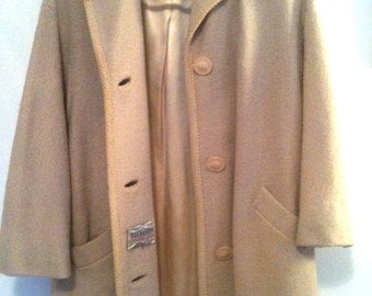 Retro cream swing / ode to deco, mid-century coat / ivory beige, grosgrain satin lined coat / 1955-63 Union tag