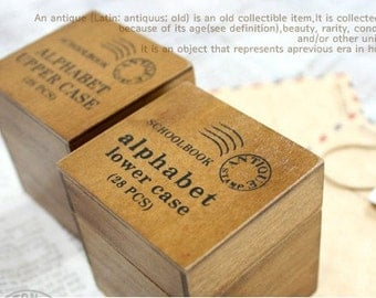 2 Cases Vintage Alphabet Stamp Set -  Wooden Rubber Stamp Set - Lowercase and Uppercase