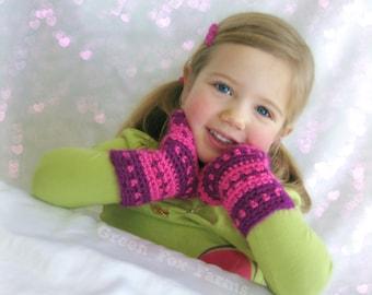 Custom Striped Fingerless Mittens, Crochet Girls Gloves, Kids Mittens, Made to Order