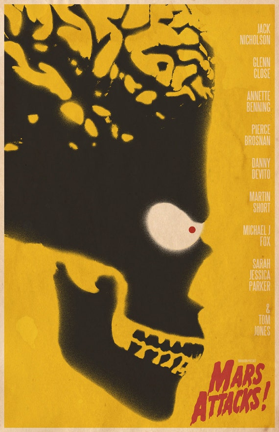 Items similar to Mars Attacks 11x17u0026quot; Movie Poster on Etsy