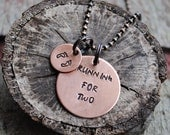 Running for Two Necklace, Pregnant Runners Pendant on Copper Ball Chain Necklace with Baby Feet Charm