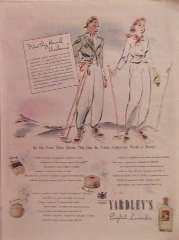 1940 yardley 39 s english lavender vintage ads soap face for Bathroom accessories ads