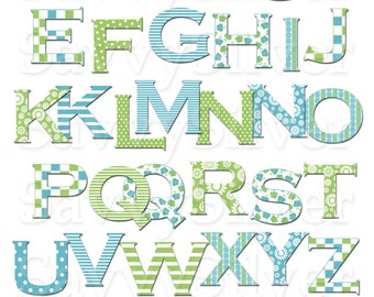 Blue & Green Digital Alphabet Clip Art -Instant Download Printable Alphabet Digital Clipart, Stripes Dots Flowers Butterflies