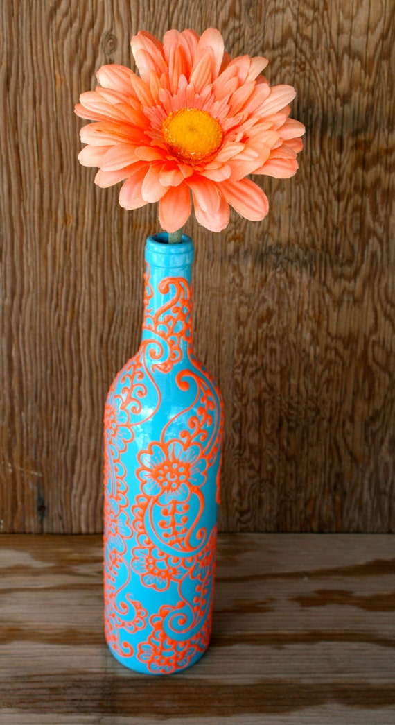 Hand Painted Wine Bottle Vase Up Cycled Turquoise And Coral