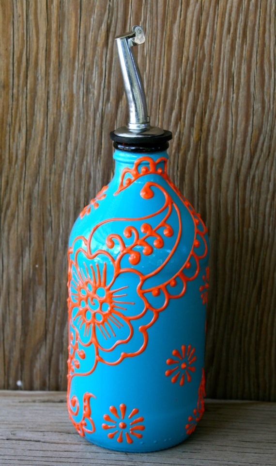 Hand Painted Glass Bottle Olive Oil Pourer Turquoise And