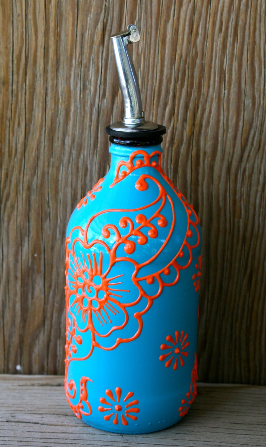 Hand painted glass bottle olive oil pourer turquoise and for Hand painted glass bottles
