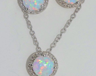 Opal & Diamond Round Stud Earrings and Pendant Set .925 Sterling Silver Rhodium Finish