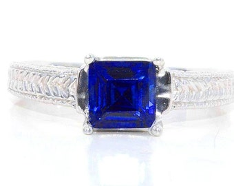 1 Carat Blue Sapphire Princess Cut Ring .925 Sterling Silver Rhodium Finish