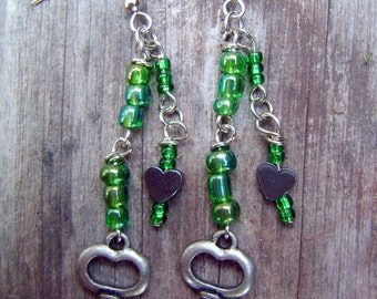 Heart and Key Beaded Dangling Earrings