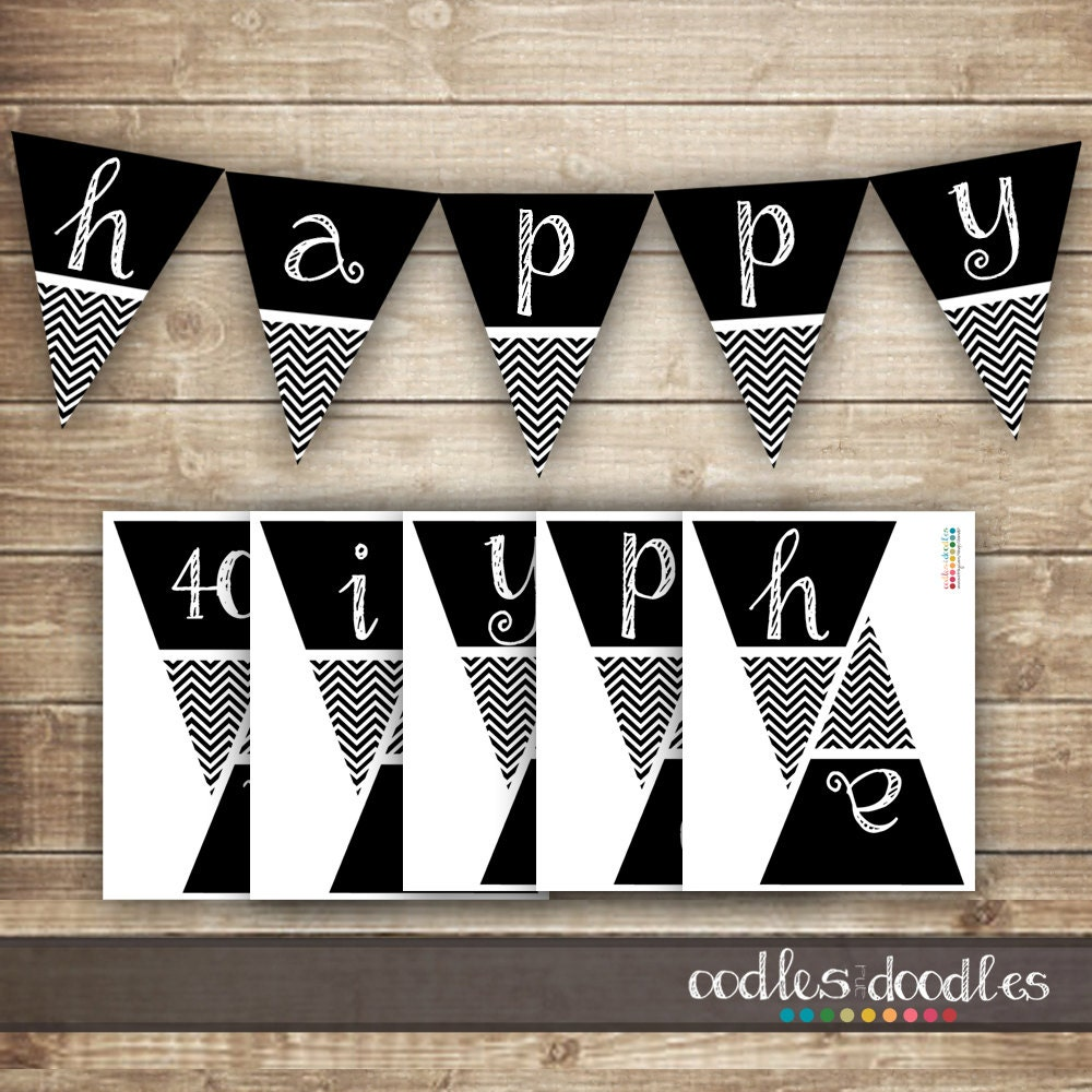 Chevron Birthday Banner / 30th 40th 50th Printable Birthday