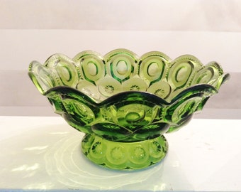 1960s Large Glass Bowl - Emerald Green - Moon and Star Glass - Scaloped Mid Century Pedestal Bowl