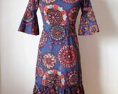 60s/70s Hippie Dress / Vintage Bohemian Print Dress / Blue Peasant Folk Dress