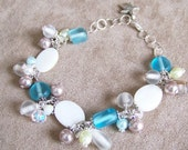 Aqua Blue Mother of Pearl Anklet Blue Ankle Bracelet 359