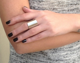 Silver Tube Ring - band ring adjustable tube finger ring Silver Plated