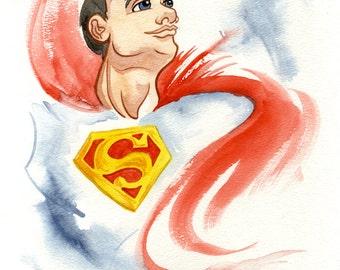 Superman, Man of Steel, DC Comic Superhero, Original Watercolor Painting