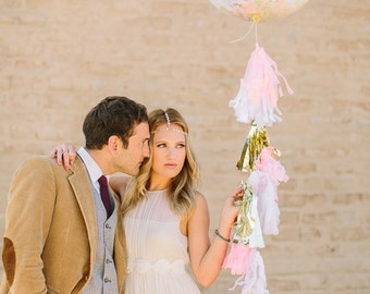 "36"" Round Confetti Balloon with Tassels - As Seen on Ruffled Blog and Hostess with the Mostess"