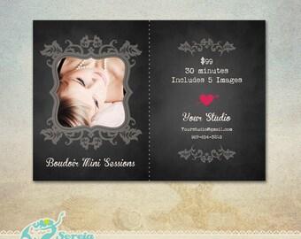 Boudoir Announcement Flyer Photoshop Template PSD - Black Vintage - S0020
