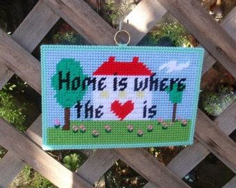 Home is Where the Heart is Needlepoint Sign