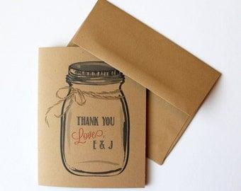 30 Wedding Personalized Thank You Mason Jar Ball Jar Note Cards Stationery Stationary