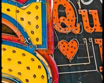 Las Vegas Vintage Neon Signs, Las Vegas Art Photography, Neon Signs, Vintage Las Vegas Signs, Heart & Letter Qu Q U, Art Print