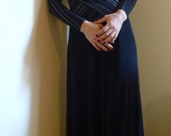 SALE! 50% off Vintage Drape Front Black & Silver Evening Dress approx 38 Euro