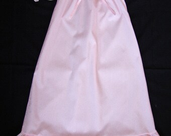 "Girls Pink Cotton Nightgown with option of Matching 18"" Doll Gowns"