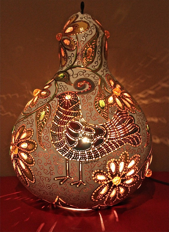 Original Quail Wall hanging Gourd lamp glass by AdelesElectricRays