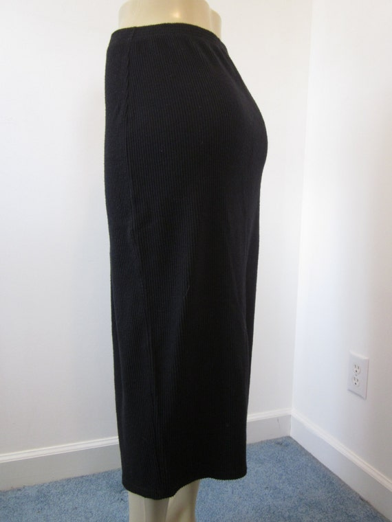 Vintage 80s Long Black Maxi Skirt Black Pencil Skirt Ribbed