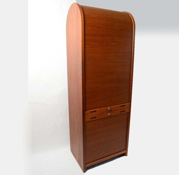 Teak Kitchen Cabinet Doors: Teak Stereo Cabinet With Tambour Doors Danish Modern 60s 70s