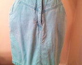 Vintage 80s High Waisted Aqua Denim Skirt Size 10