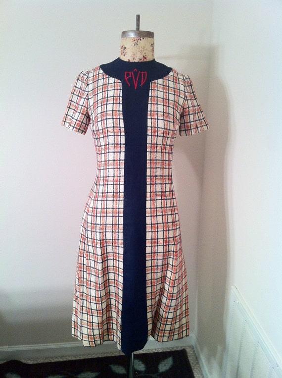 vintage 1960s doncaster plaid dress size 8