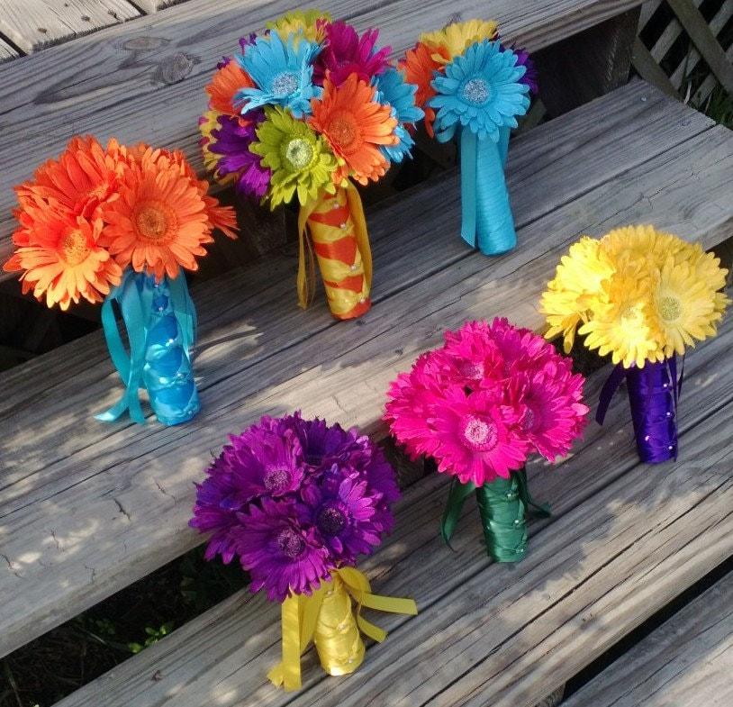 15 Piece Daisy Wedding Bouquet Set Purple Daisy Bouquet