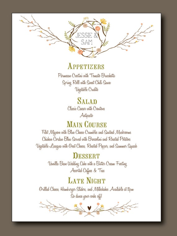 Summer Wedding Menu Ideas Buffet Items Similar To Bohemian Elegant