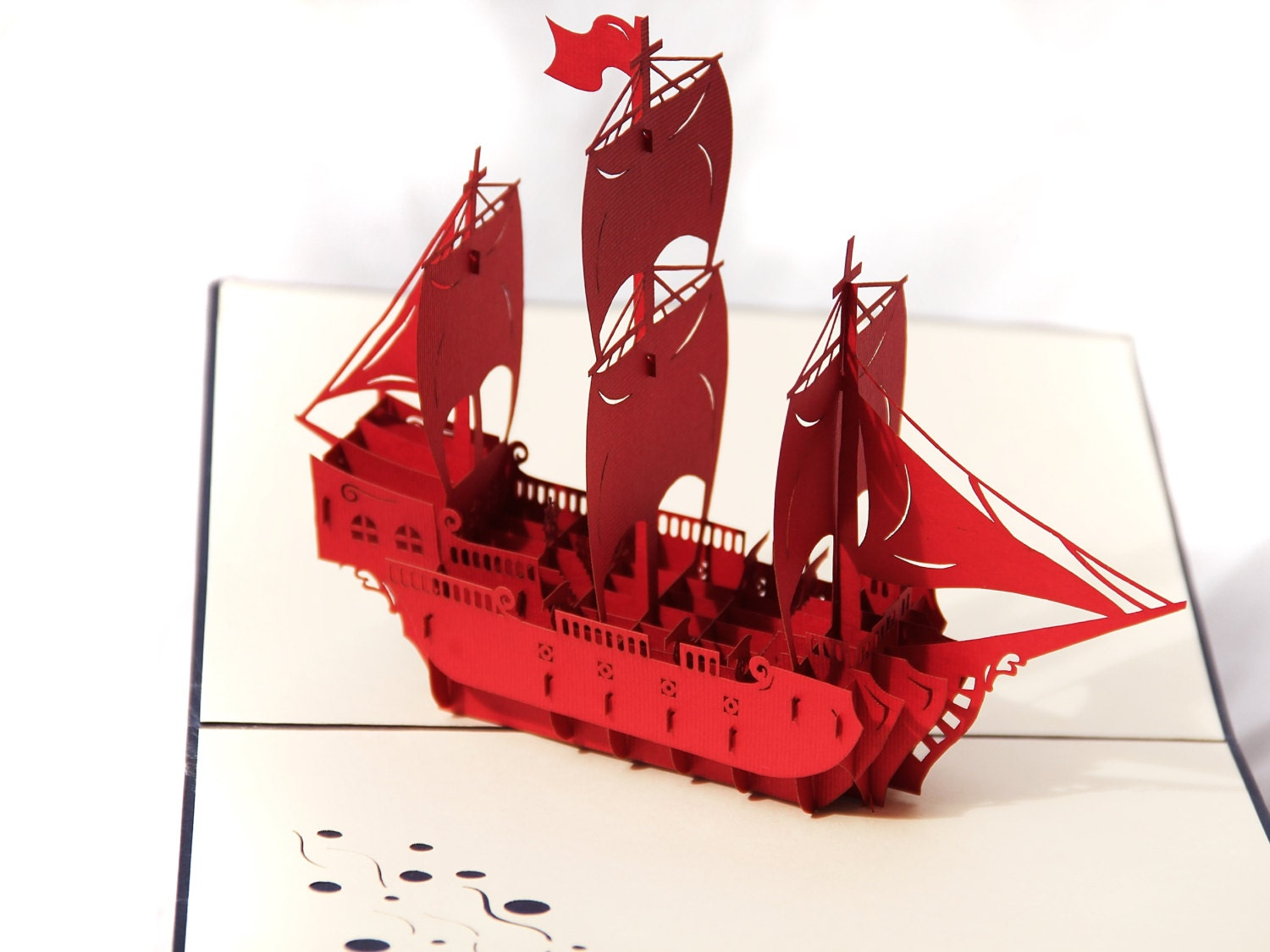 Pirate Ship Popup Greeting Card Red Boat Pop Up Paper Art