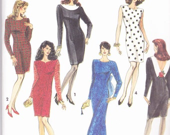 Simplicity 7497 Vintage  Pattern Womens Fitted Dress in 5 Variations Size 8,10,12,14 UNCUT