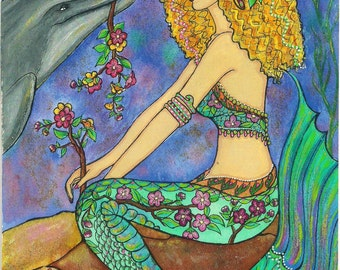 "Lovely Curly-Haired Cherry Blossom Mermaid With Her darling Dolphin Friend 10""x8"" FANTASY ART PRINT of original by K.MCants"